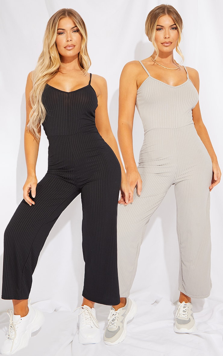 Black & Grey 2 Pack Ribbed Culotte Jumpsuit 1