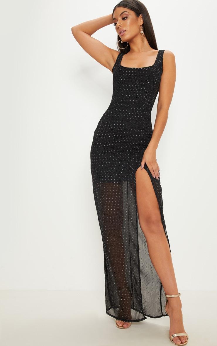Black Gold Studded Chiffon Square Neck Maxi Dress 1