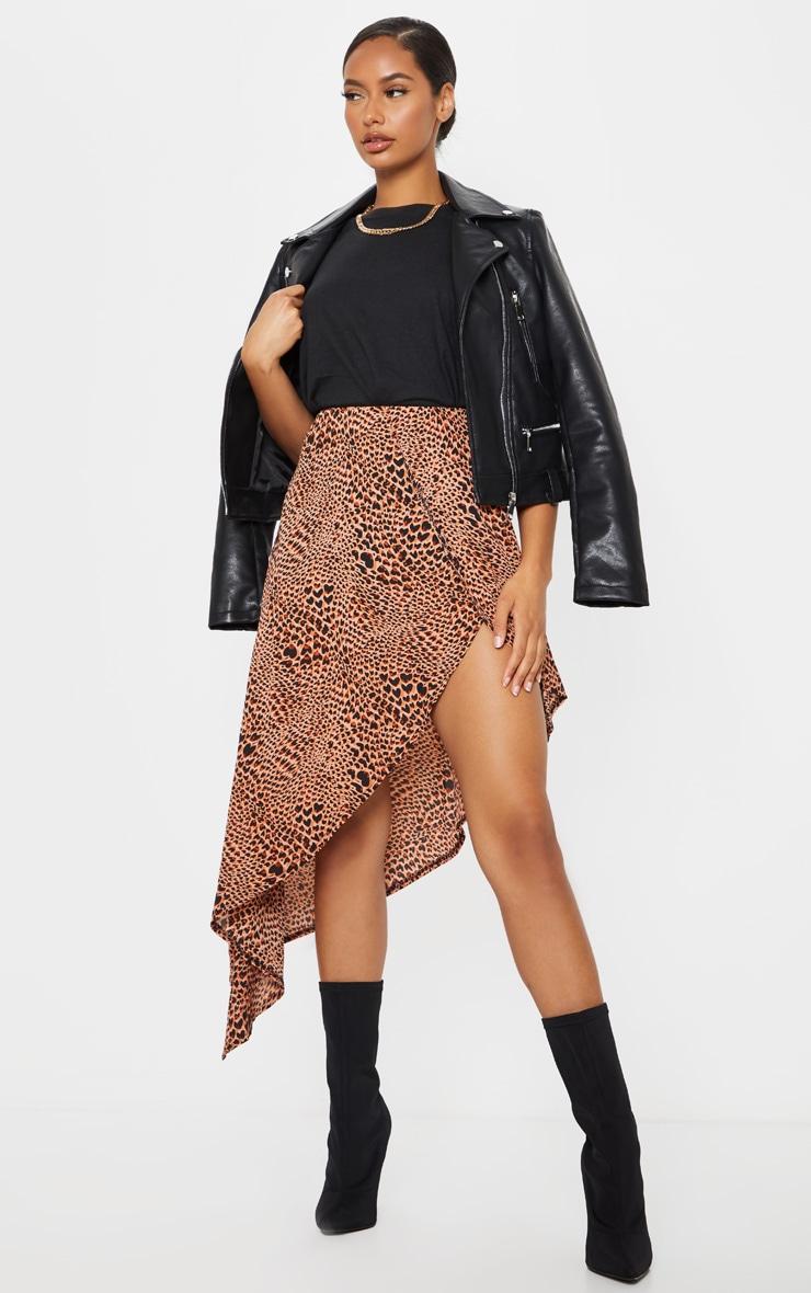 Pink Leopard Print Satin Asymmetric Skirt 1