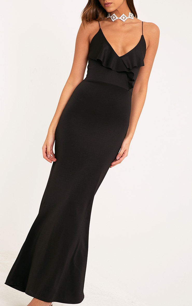 Moisha Black Frill Detail Fishtail Maxi Dress 5