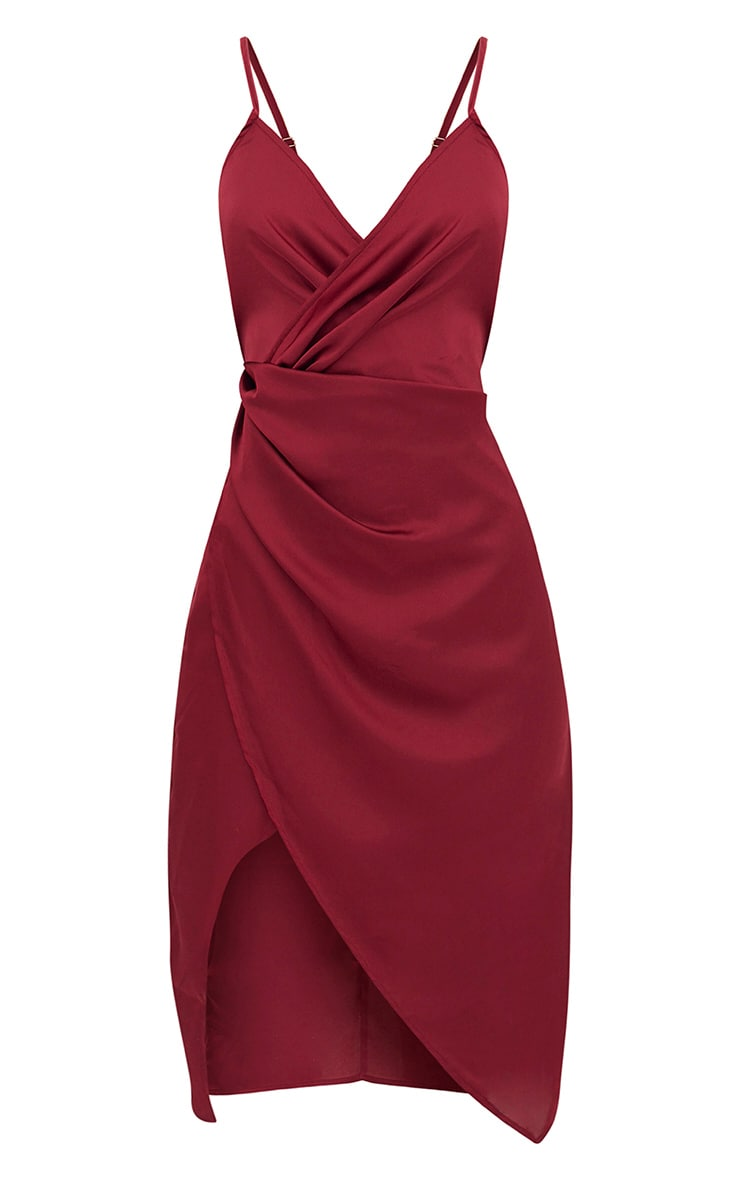 Burgundy Satin Strappy Twist Front Midi Dress 4