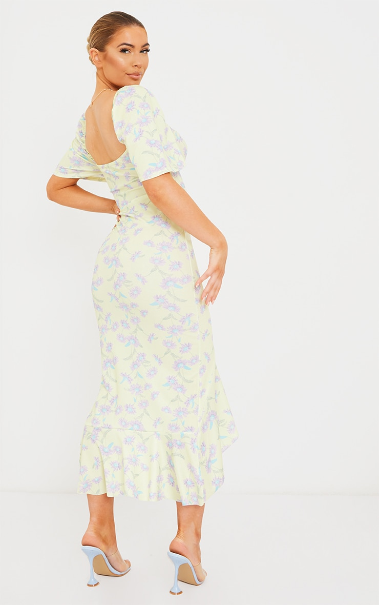 Yellow Floral Print Short Sleeve Ruched Bust Midi Dress 2