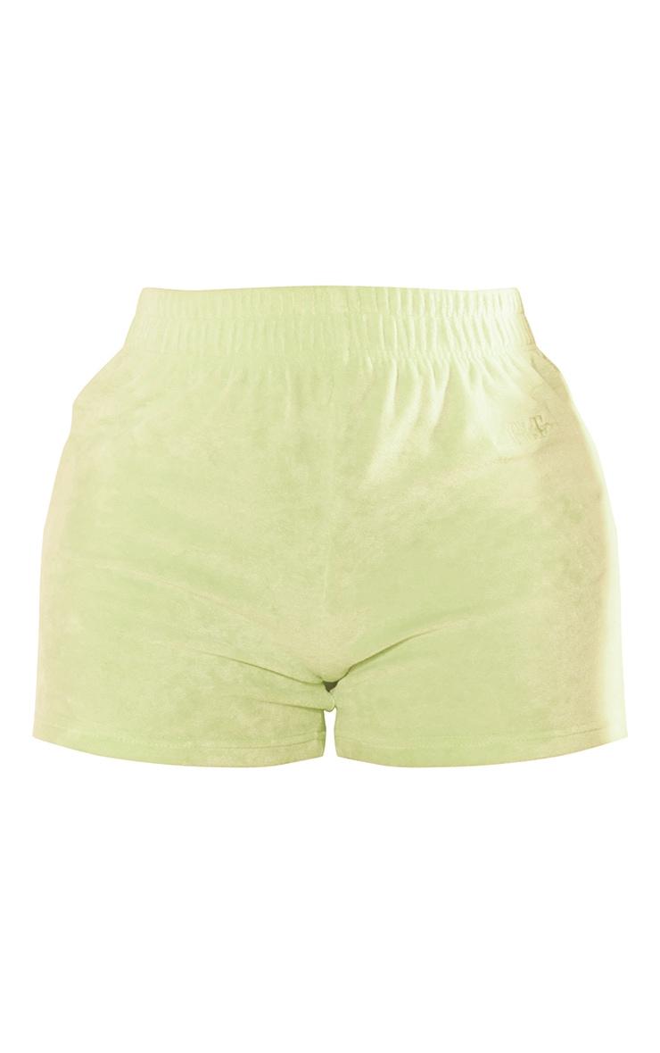PRETTYLITTLETHING Shape Lime Velour Shorts 6