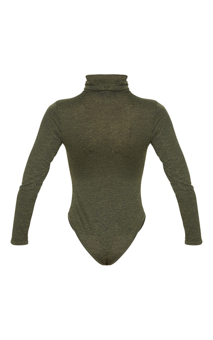 Khaki Marl Roll Neck Long Sleeve Bodysuit 4