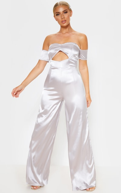 Grey Satin Bardot Cut Out Detail Jumpsuit