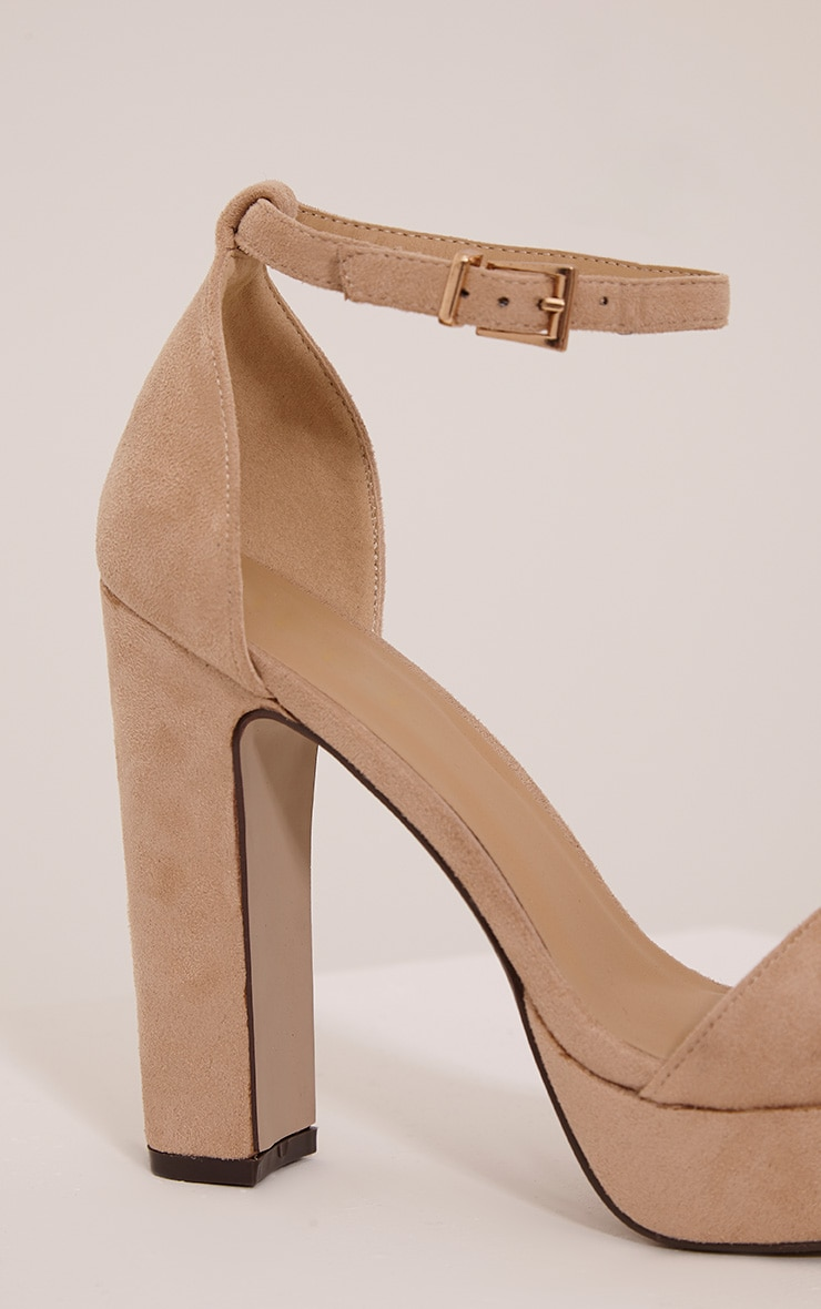 Taya Nude Faux Suede Platform Sandals 5