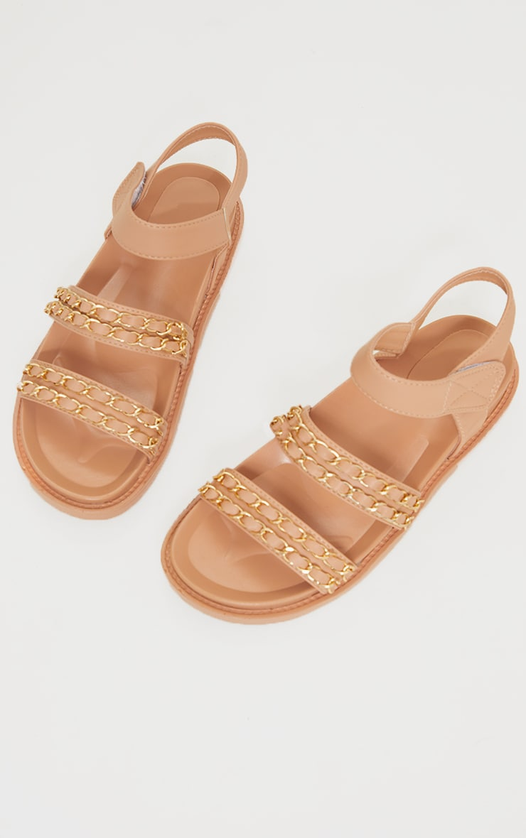 Nude PU Footbed Double Strap Chain Detail Sandals 3