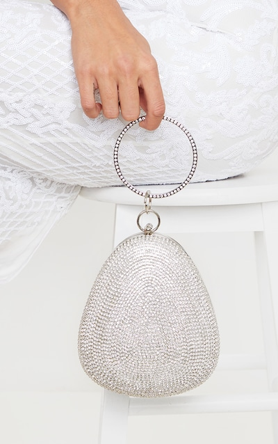Silver Diamante Oval Bag