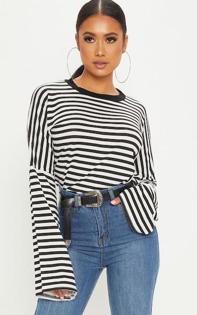4256c87fa50 Petite Black Flared Sleeve Striped T-Shirt PrettyLittleThing Sticker