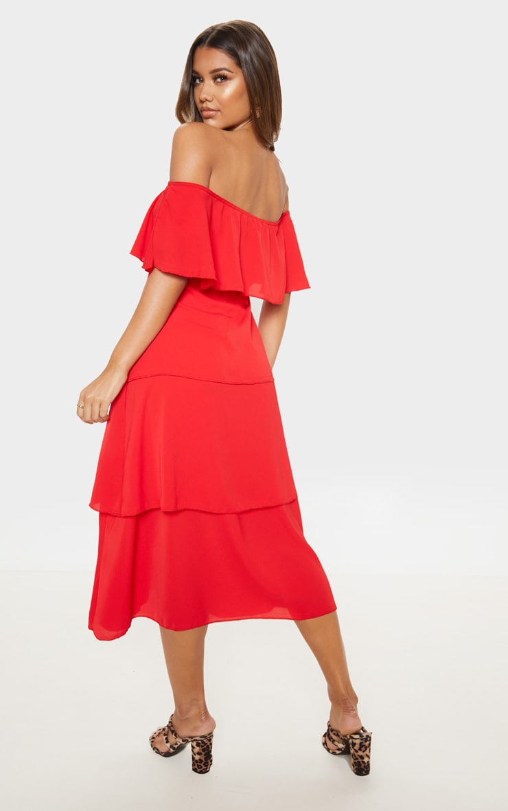 Red Tiered Frill Detail Midi Dress 2