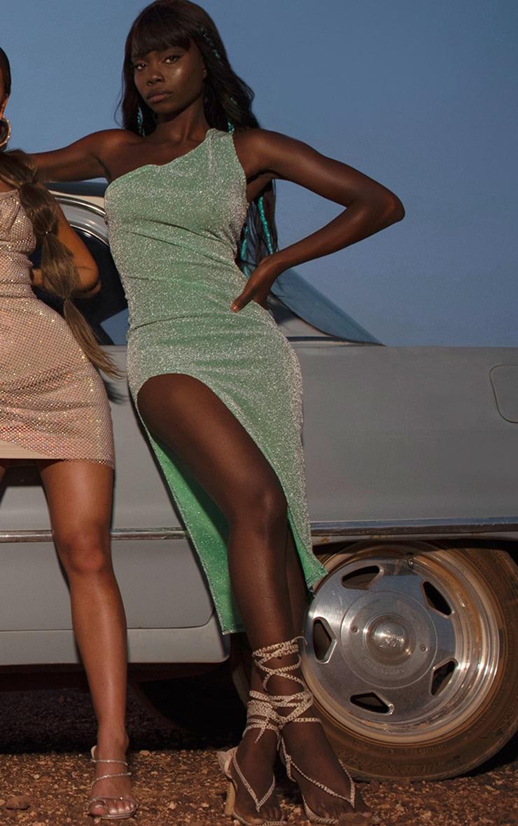 Sage Green Glitter One Shoulder Beach Dress 1