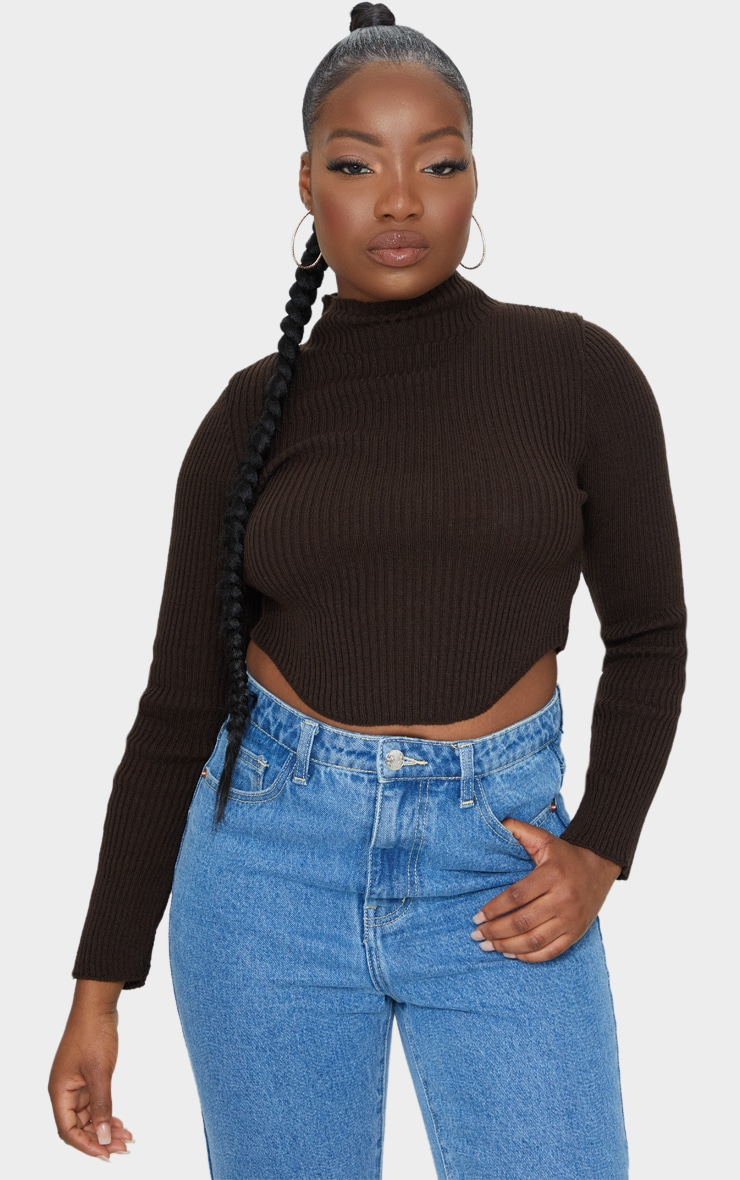 Petite Chocolate High Neck Curve Hem Jumper 1