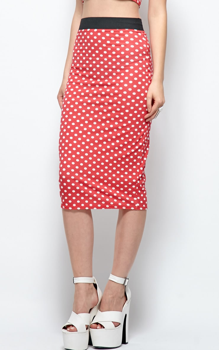 Gabriella Red Polka Dot Midi Skirt  3