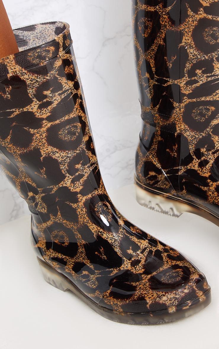 Brown Leopard Print Short Wellies 5