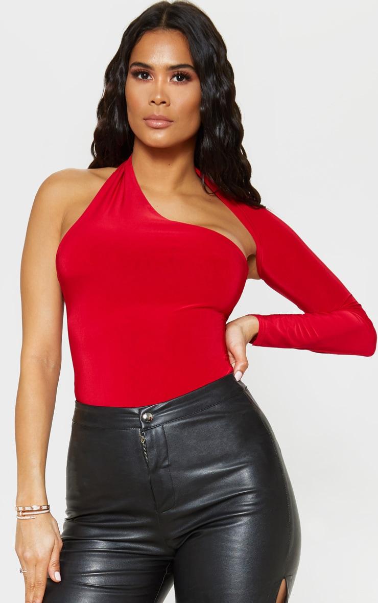 Red One Shoulder Asymmetric Bodysuit by Prettylittlething