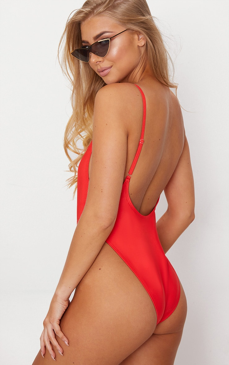 Red Scoop Back Swimsuit 1