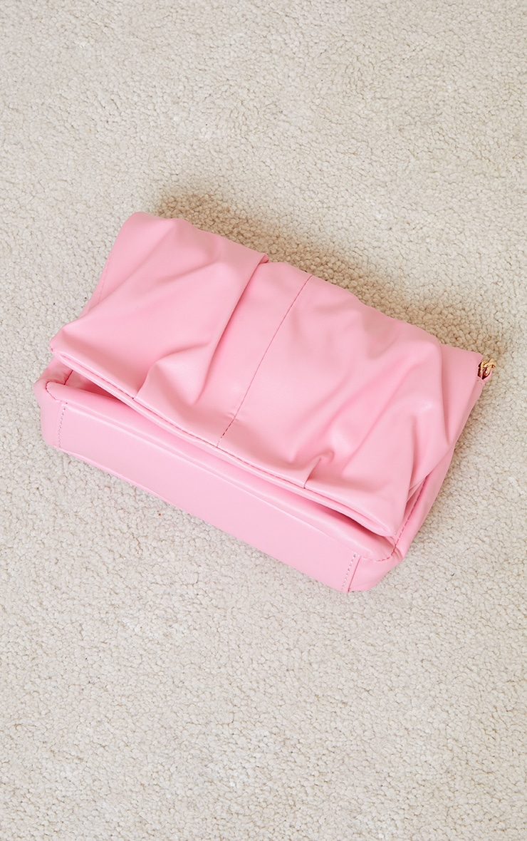 Pink Ruched Cross Body Bag 4