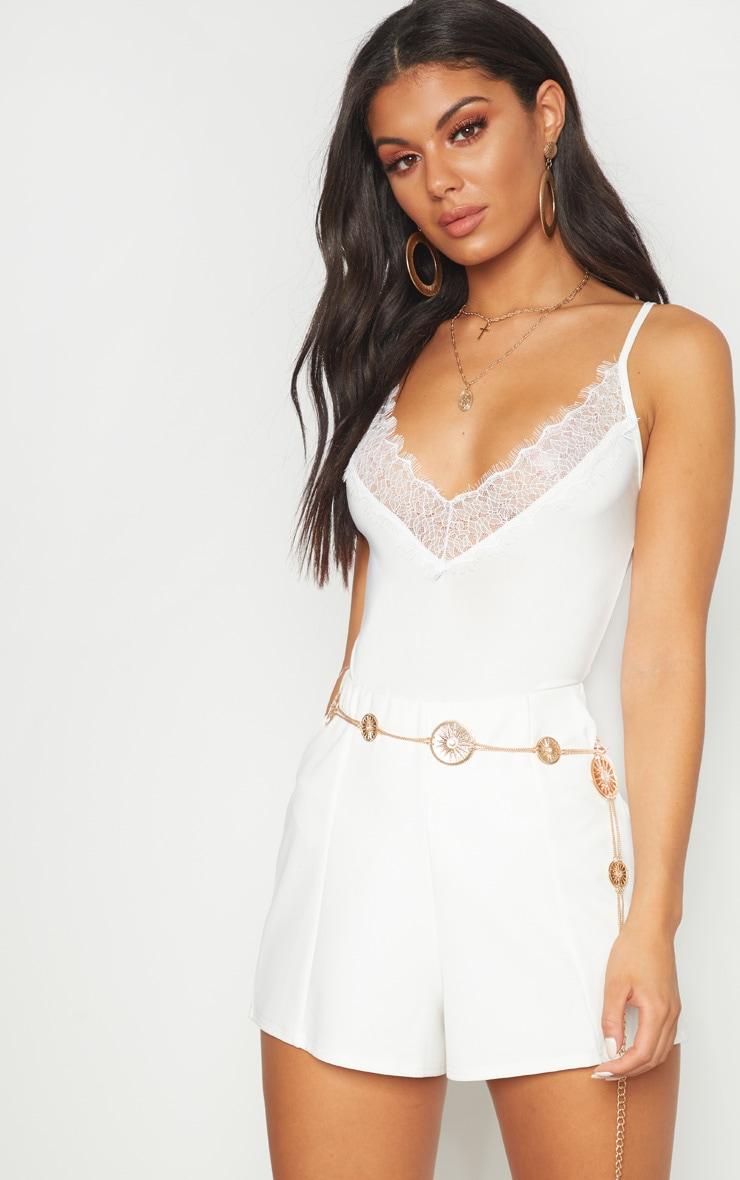 Cream Eyelash Lace Trim Bodysuit by Prettylittlething