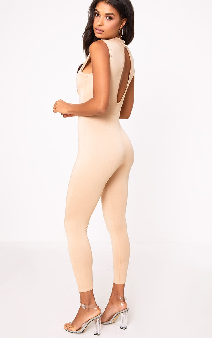 Amani Nude Corset Front Jersey Jumpsuit  2