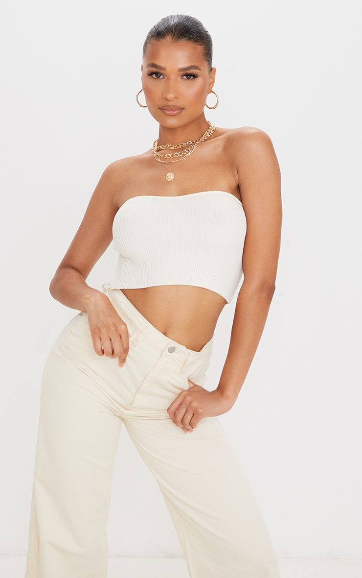 Cream Knitted Ribbed Bandeau Top 4