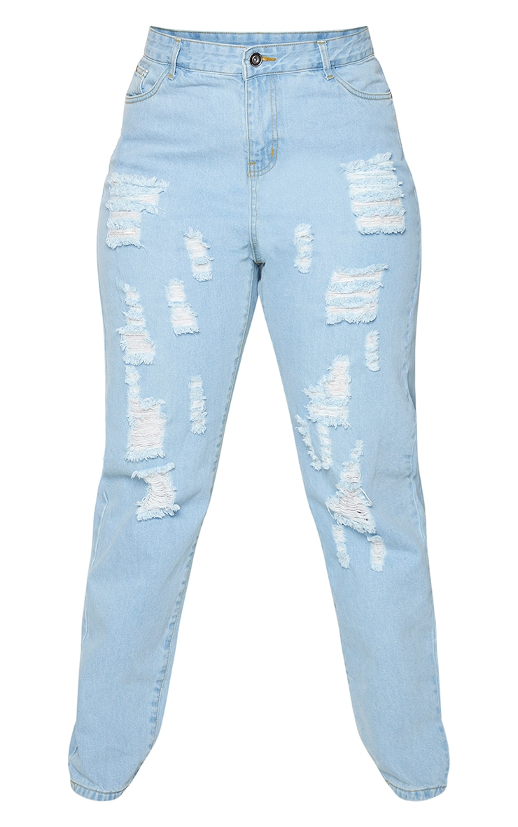 Plus Light Wash Extreme Distressed Rip Mom Jeans 5