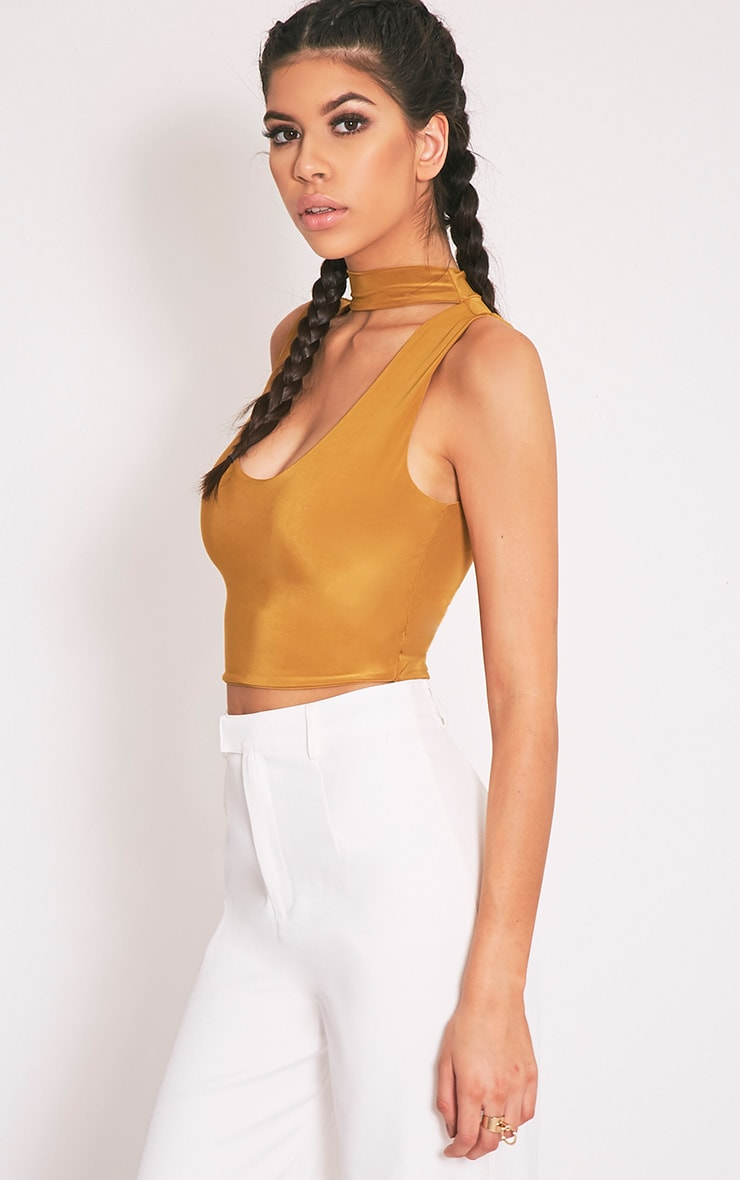 Melrose Dark Gold Cut Out Neck Slinky Crop Top 3