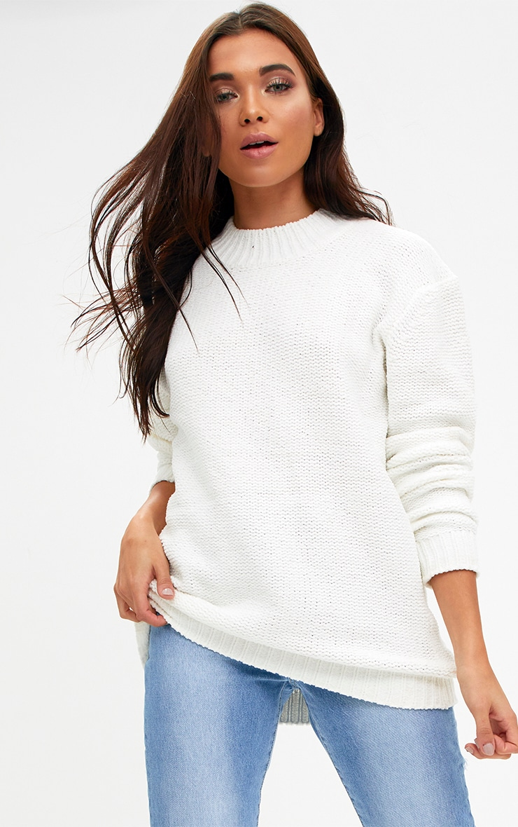Cream Chenille Oversized Sweater 1