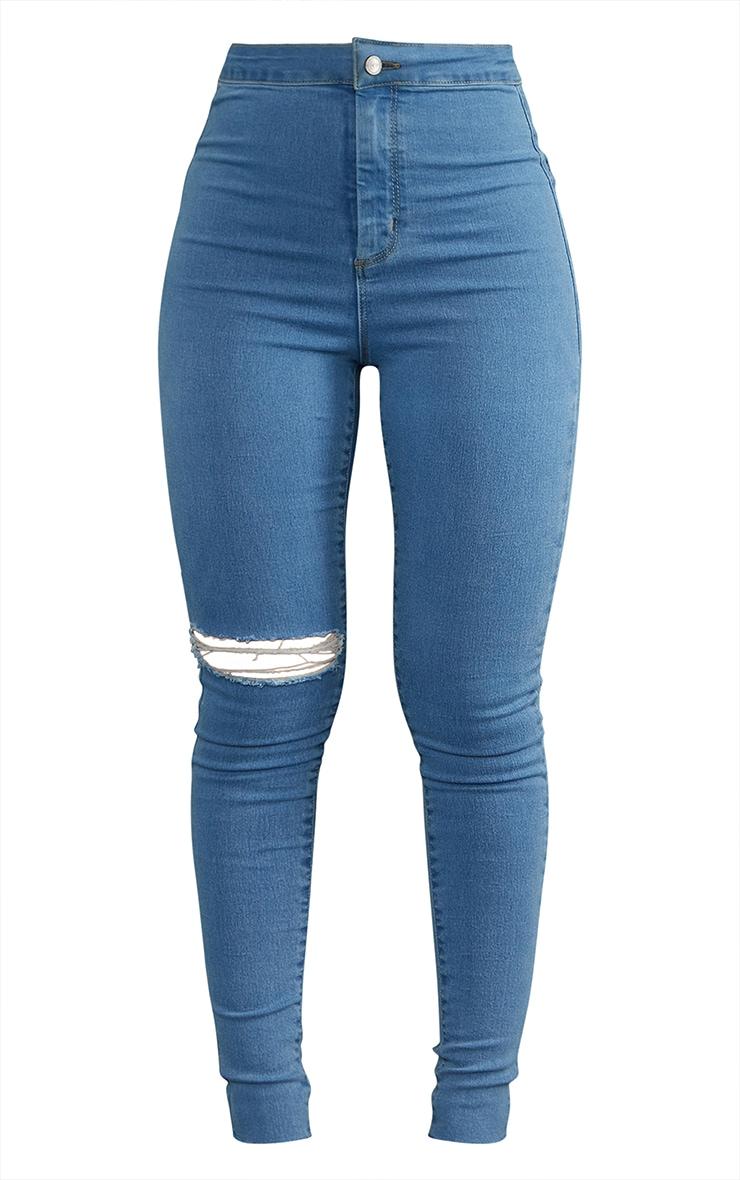 PRETTYLITTLETHING Light Blue Wash Raw Hem Knee Rip Disco Skinny Jeans 5