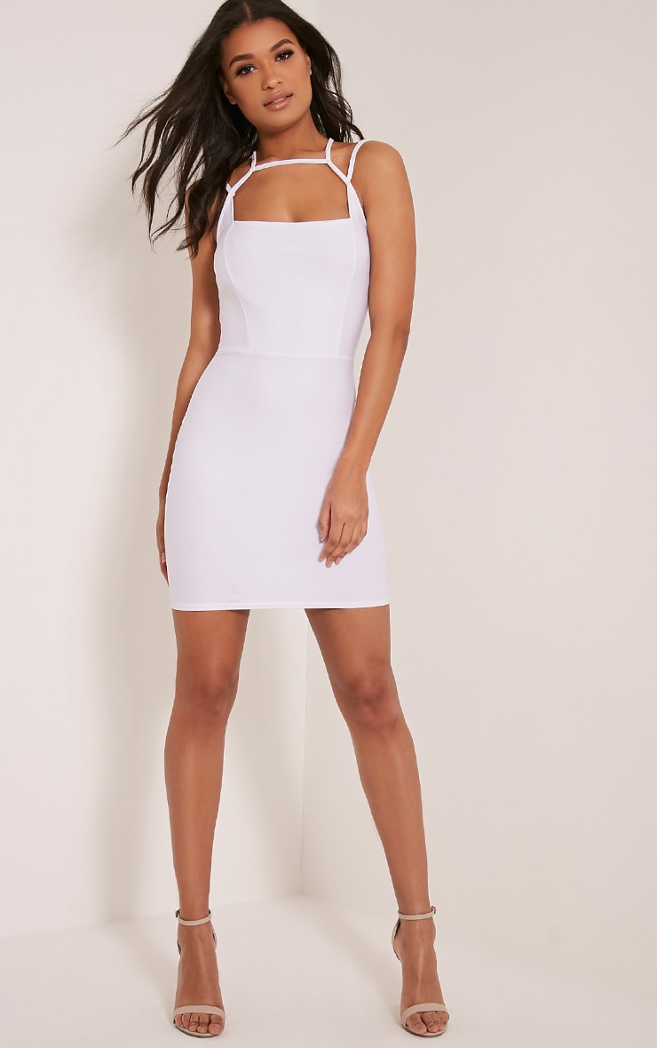 Maden White Strappy Detail Bodycon Dress 4