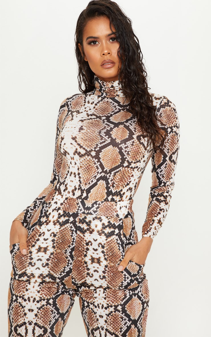 Tan Snake Print Roll Neck Long Sleeve Bodysuit 2