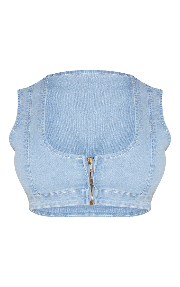 Shape Light Wash Denim Zip Front Crop Top 3