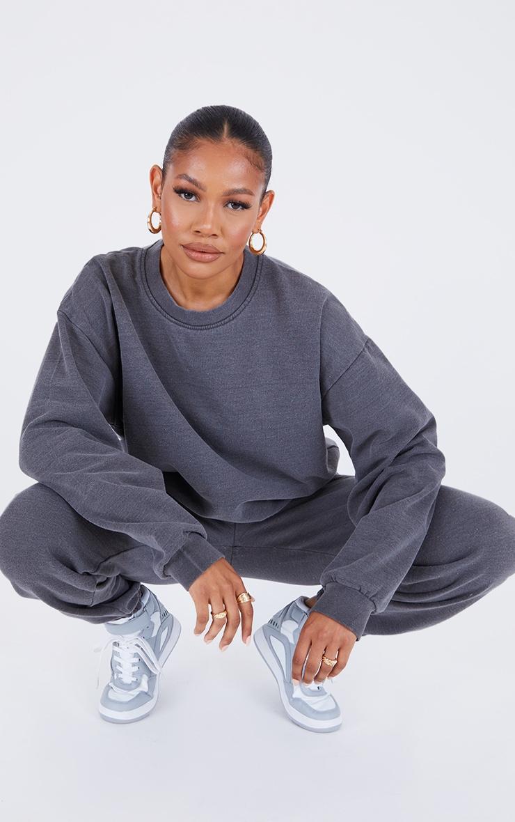 Recycled Charcoal Grey Washed Oversized Sweatshirt 3