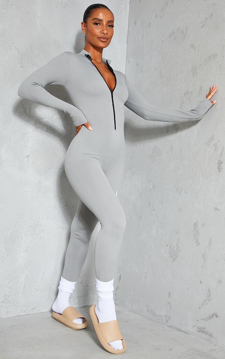Grey Marl Structured Contour Rib Zip Jumpsuit 3