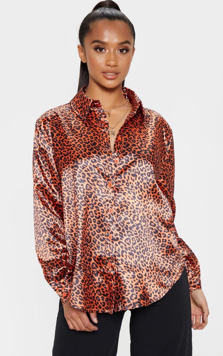 Petite Orange Leopard Print Shirt 1