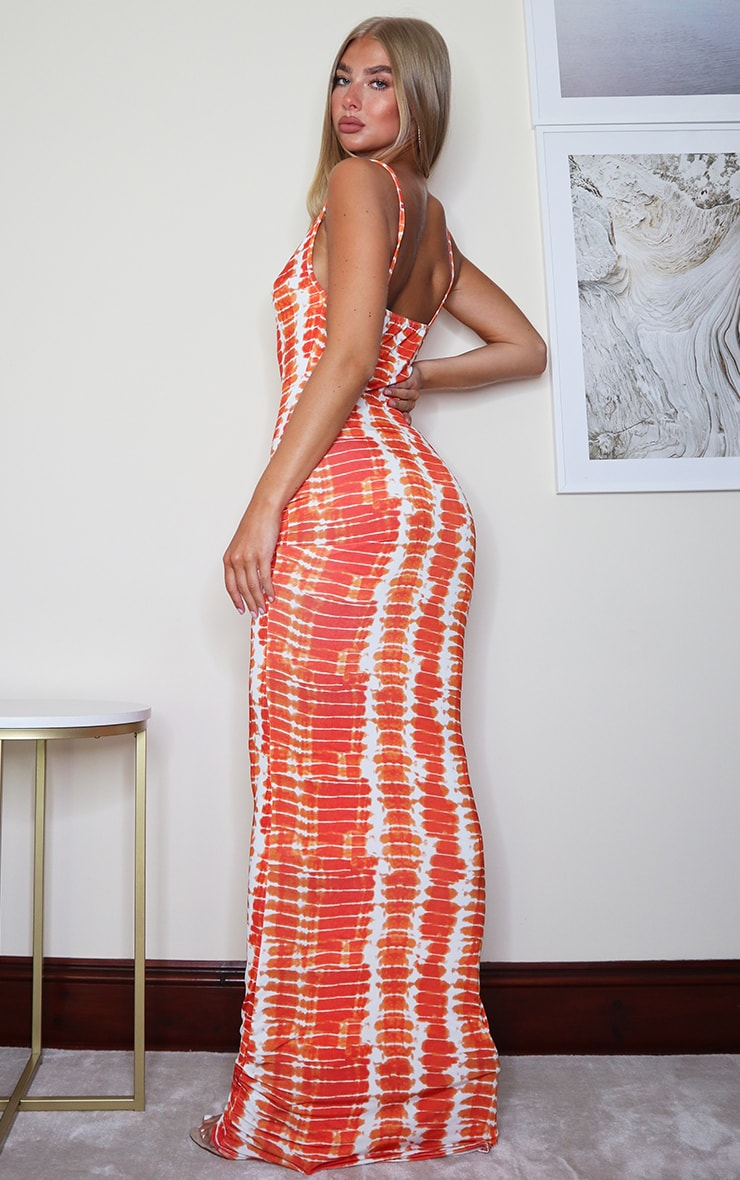 Orange Tie Dye Print Cowl Neck Strappy Maxi Dress 2