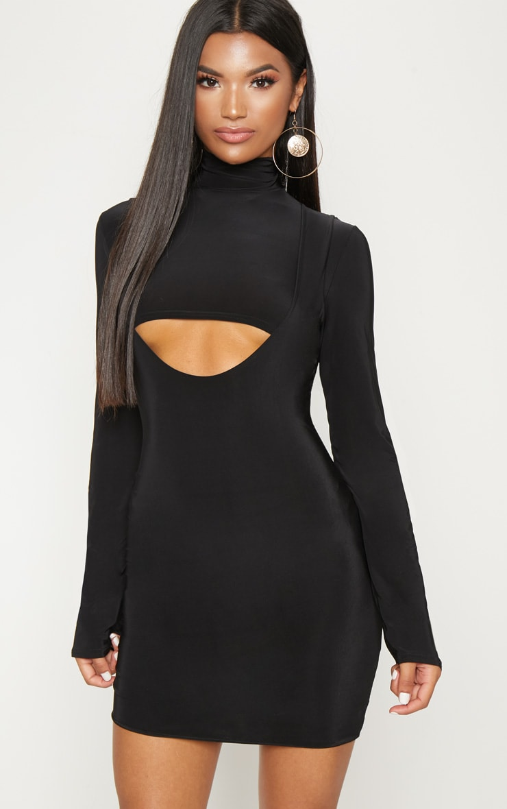 Black 2 In 1 Long Sleeve Under Boob Slinky Mini Dress 1