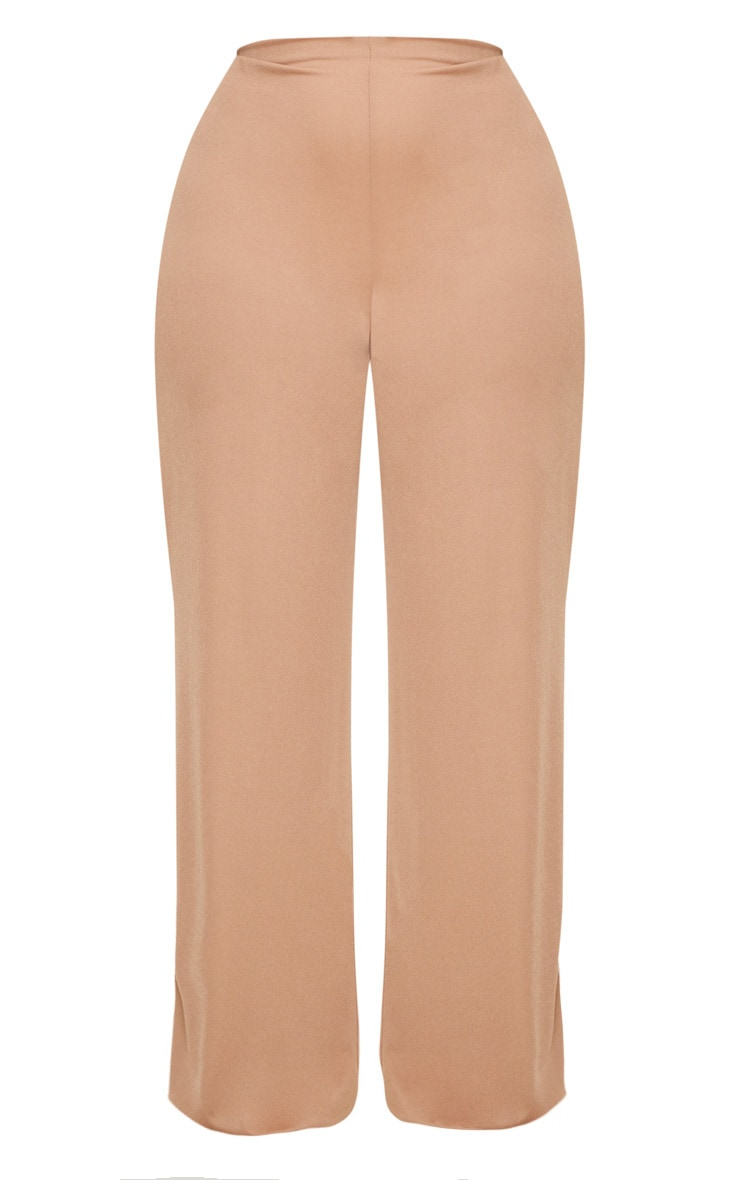 Plus Camel High Waisted Wide Leg Trousers 3