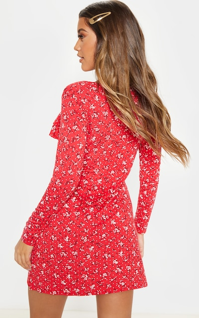 Red Ditsy Floral Print Frill Detail Long Sleeve Shift Dress