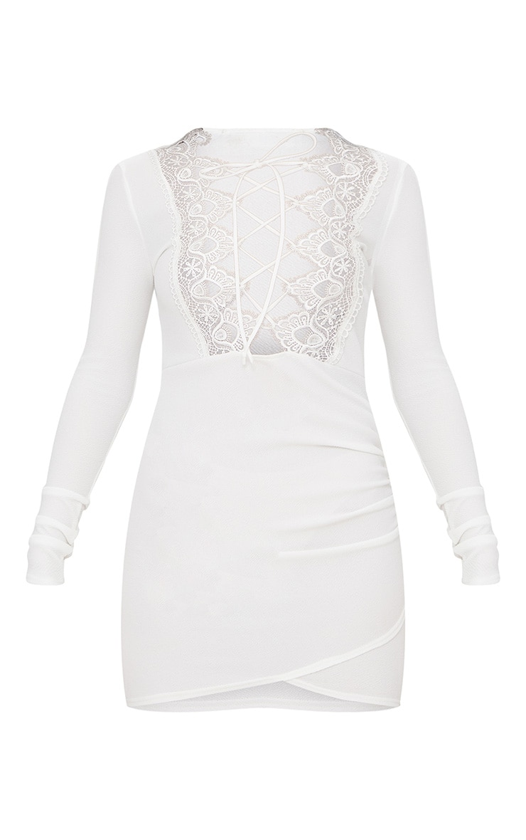 White Lace Up Long Sleeve Wrap Detail Bodycon Dress  3