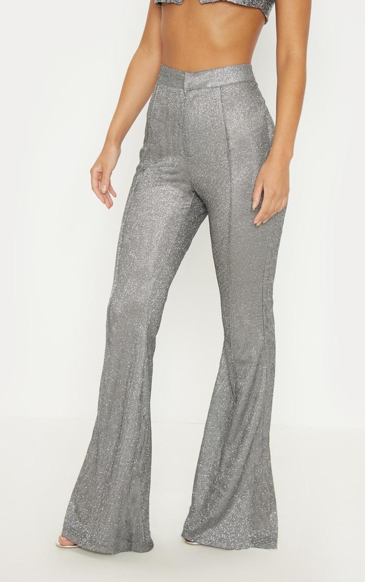 Silver Front Seam Glitter Flared Trouser 2