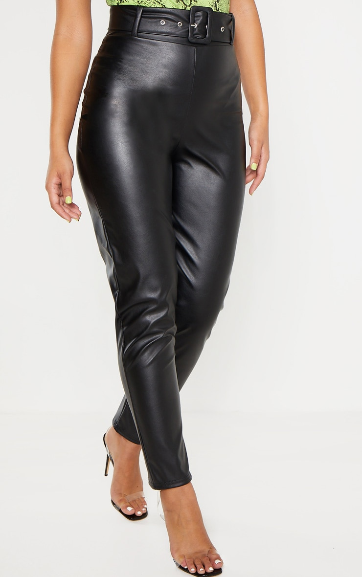 Black Faux Leather Belted Skinny Pants  2