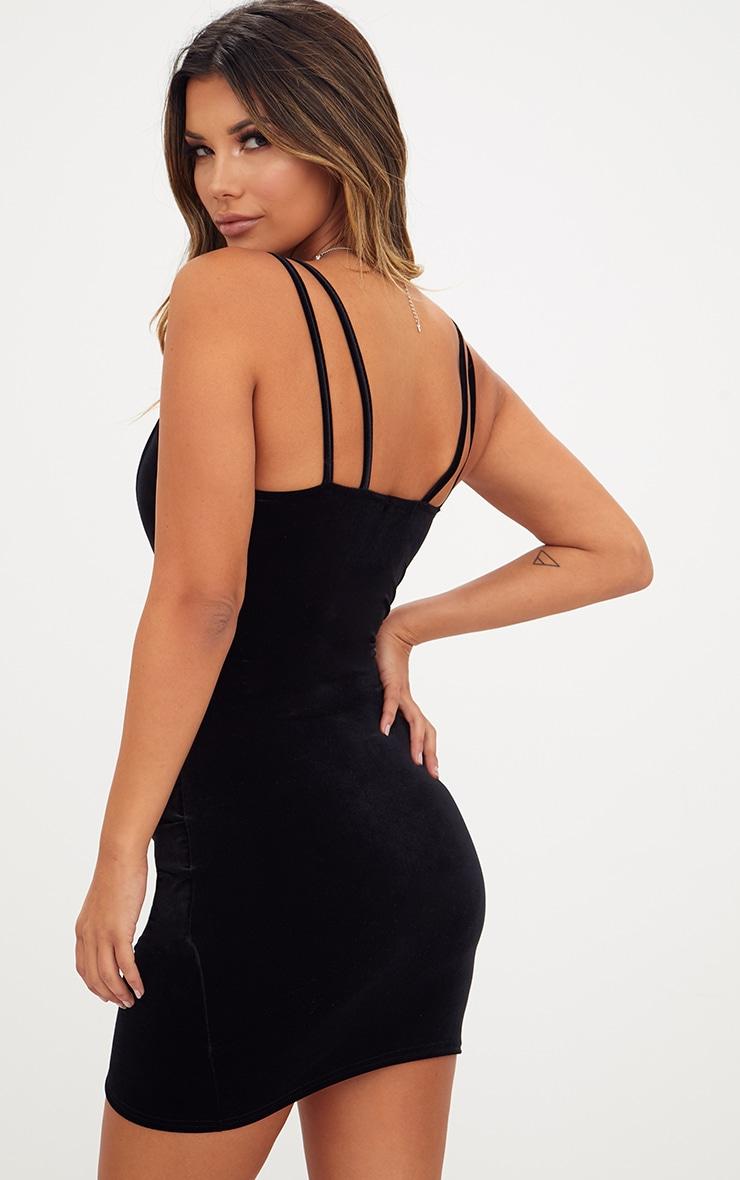 Black Velvet Double Strap Ruched Bodycon Dress 2