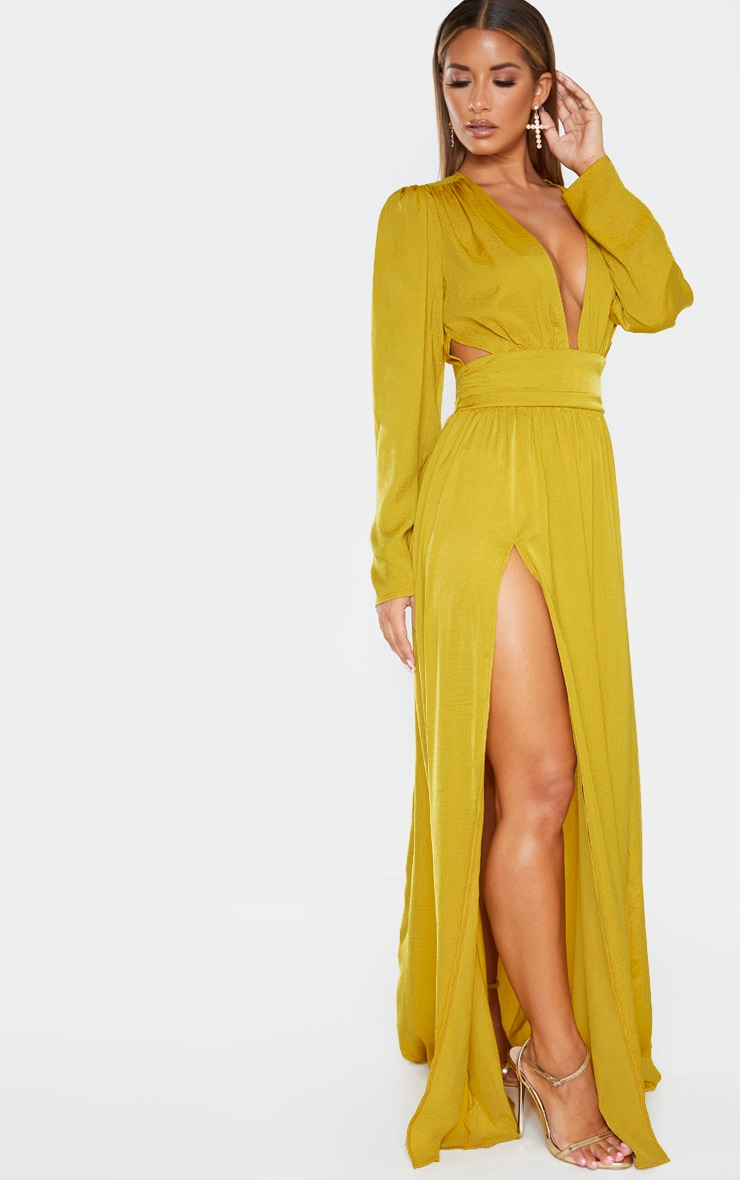 Chartreuse Puff Sleeve Extreme Plunge Waist Detail Maxi Dress 4