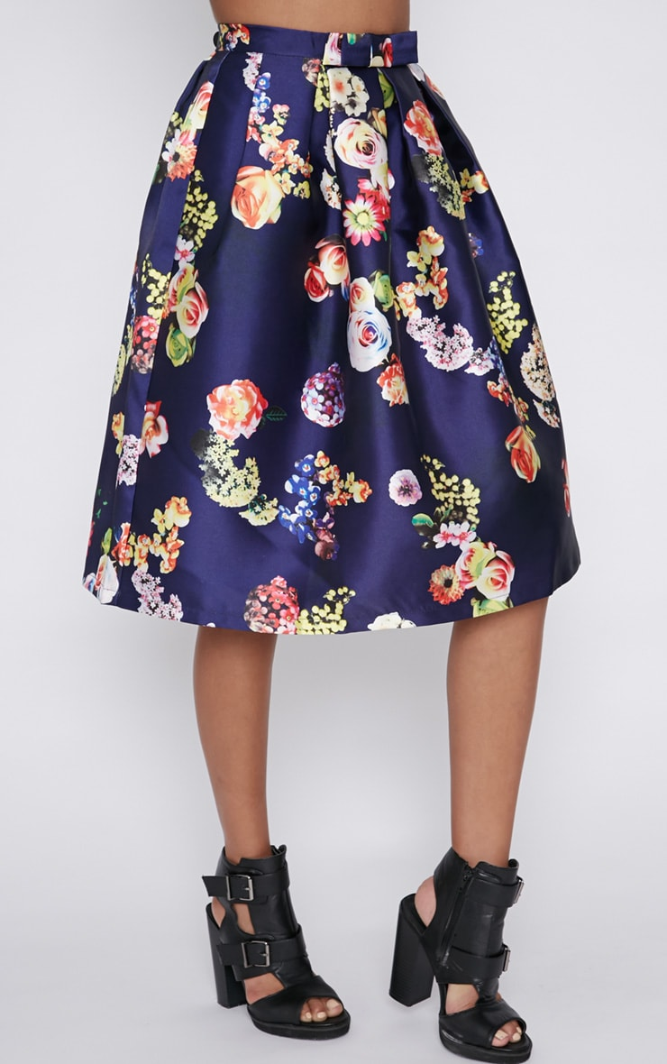 Harley Navy Floral Print A-Line Skirt 5