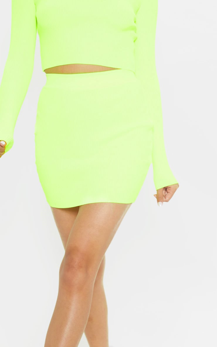 Neon Yellow Ribbed Knitted Mini Skirt  6