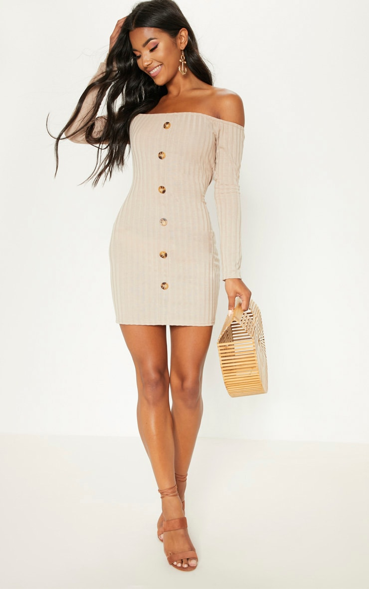 Stone Ribbed Button Detail Dress  4