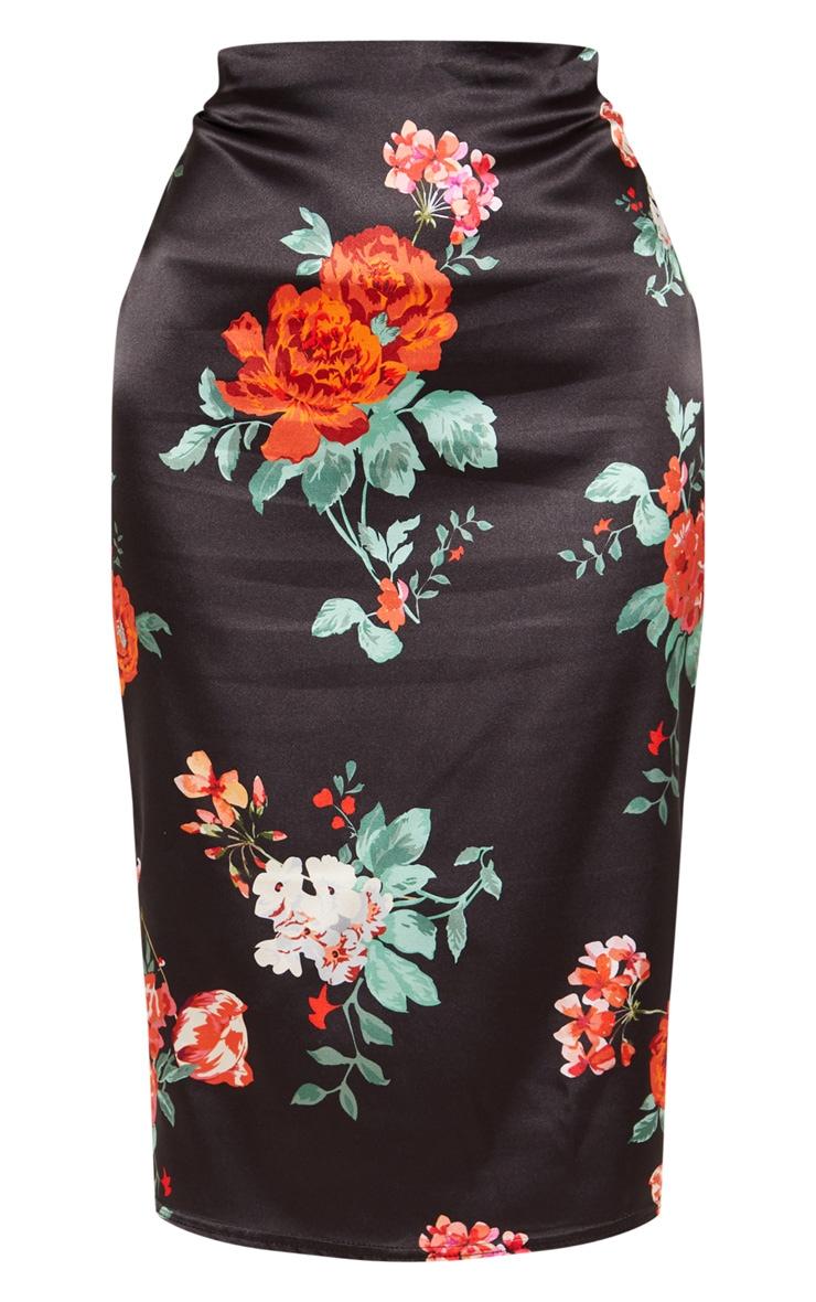 Black Large Floral Printed Satin Midi Skirt 3