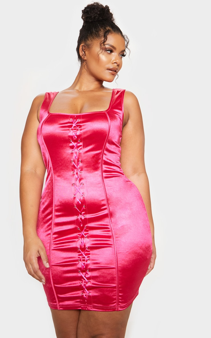 Fuschia Lace Up Square Neck Bodycon Dress