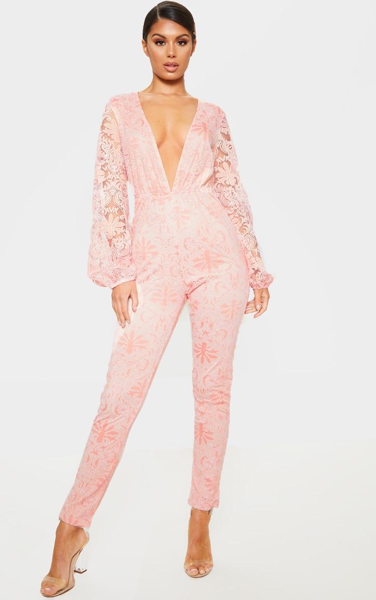 Dusty Pink Sheer Paisley Long Sleeve Jumpsuit 1