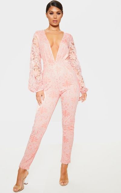 f70f113751c Dusty Pink Sheer Paisley Long Sleeve Jumpsuit